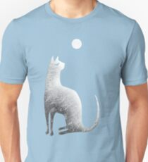 Ghost Cat and Moon in black and white Unisex T-Shirt