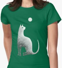Ghost Cat and Moon in black and white Women's Fitted T-Shirt