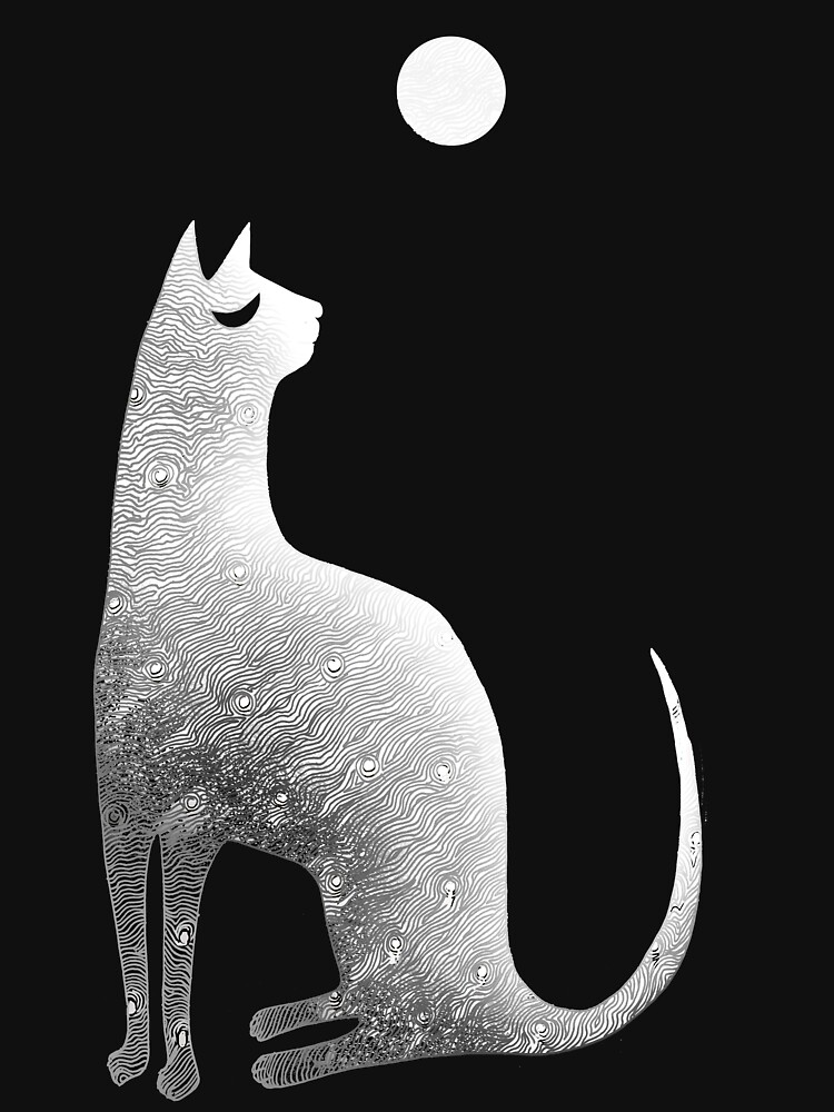 Ghost Cat and Moon in black and white by SusanSanford