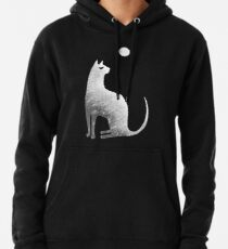Ghost Cat and Moon in black and white Pullover Hoodie