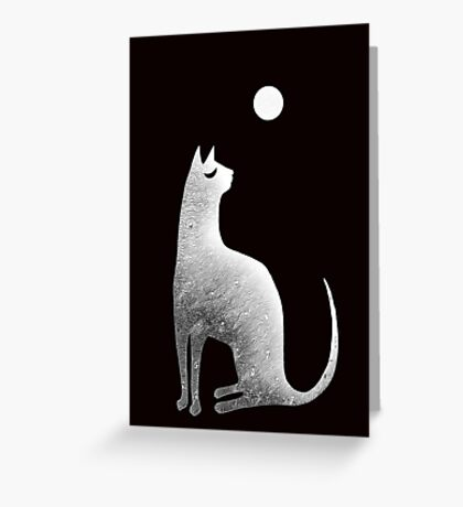 Ghost Cat and Moon in black and white Greeting Card