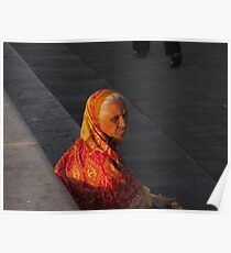 Left behind-old lady in sari at sunset Poster
