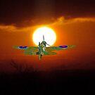 A Spitfire heads towards the Sun on a secret mission. by albutross