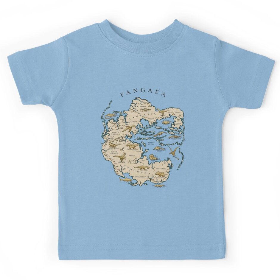 Map Of The Supercontinent Pangaea Kids Tees By Richard Morden - Pangaea map