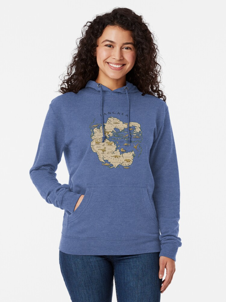 Alternate view of map of the supercontinent Pangaea Lightweight Hoodie
