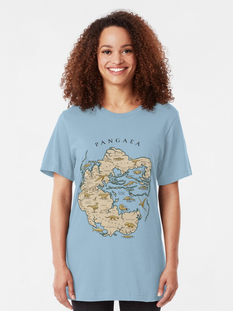 Alternate view of map of the supercontinent Pangaea Slim Fit T-Shirt
