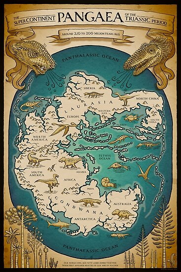 Quot Map Of The Supercontinent Pangaea Quot Posters By Richard