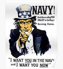 I Want You In The Navy -- Uncle Sam Poster