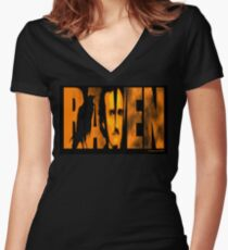 Edgar Allan Poe and The Raven Fitted V-Neck T-Shirt