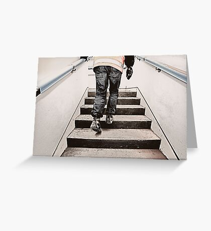 Worker on stairs Greeting Card