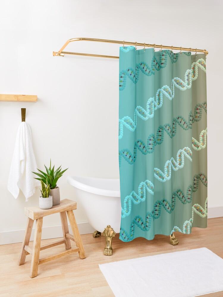 Alternate view of DNA stripe pattern Shower Curtain