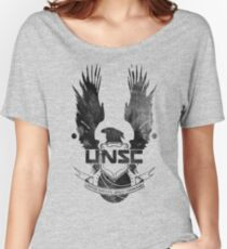 Halo UNSC Faded Watercolor Print Black on White Women's Relaxed Fit T-Shirt