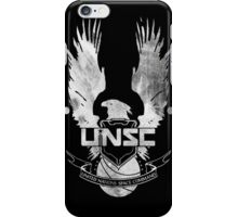 Halo UNSC Faded Watercolor Print White on Black iPhone Case/Skin