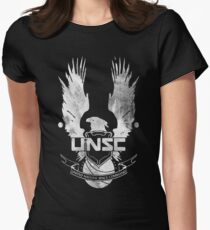 Halo UNSC Faded Watercolor Print White on Black Womens Fitted T-Shirt