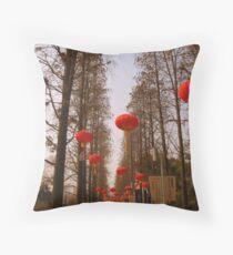 Red lanterns, Changzhou Park Throw Pillow