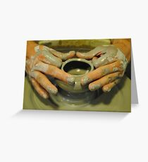 Potter hands, spinning pottery wheel Greeting Card