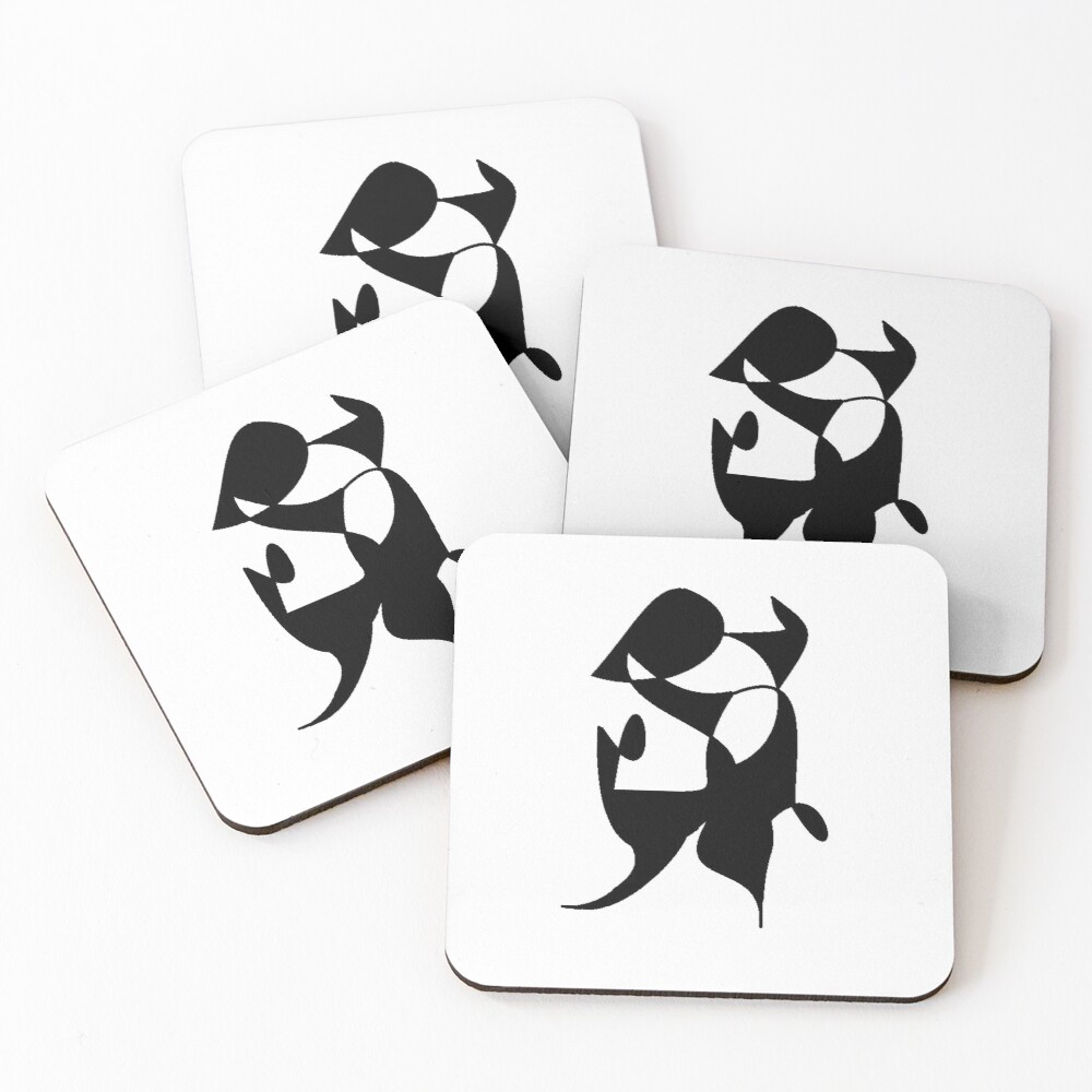 A Bull, Abstract (Designed by Just Stories) Coasters (Set of 4)