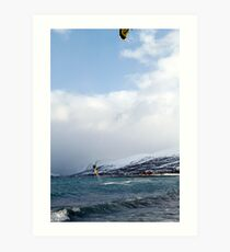 Kiting by the arctic shore Art Print