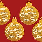 Merry Christmas And Happy New Year Gold Theme by hurmerinta