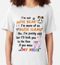 Not Auntie Bear More Llama Niece Kids School Children Birthday Parent Teacher Conference Gift Slim Fit T-Shirt
