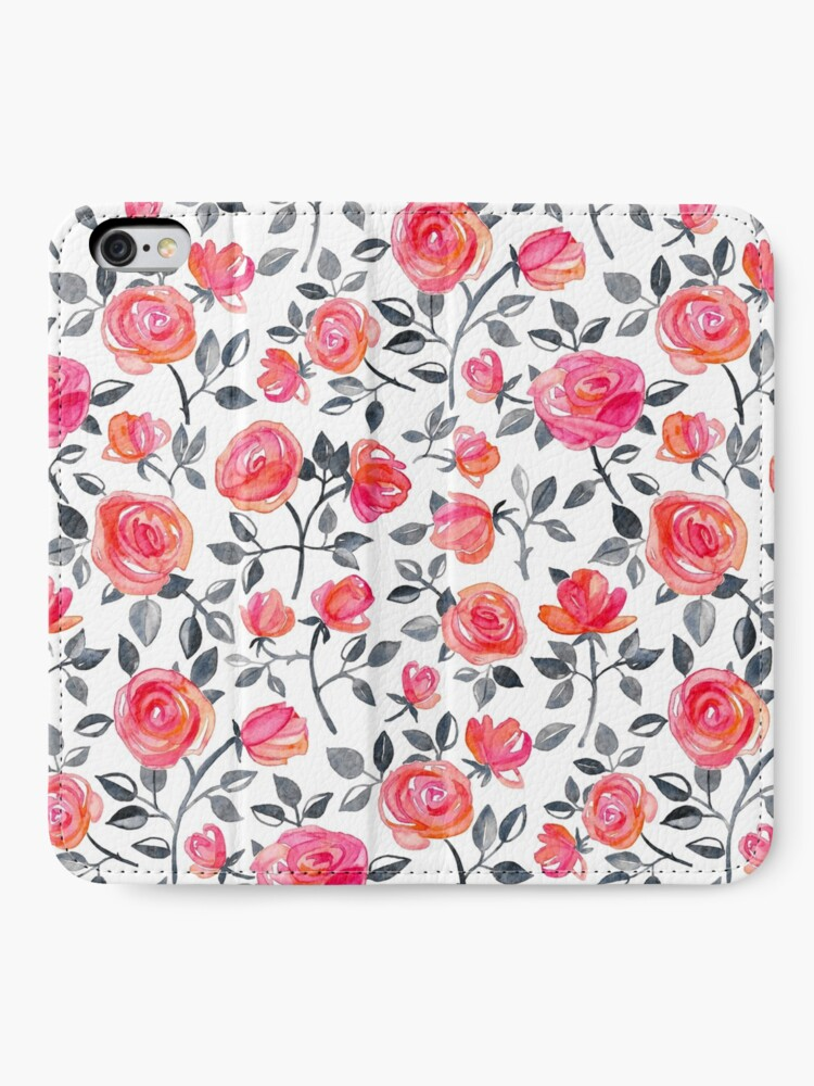Alternate view of Roses on White - a watercolor floral pattern iPhone Wallet