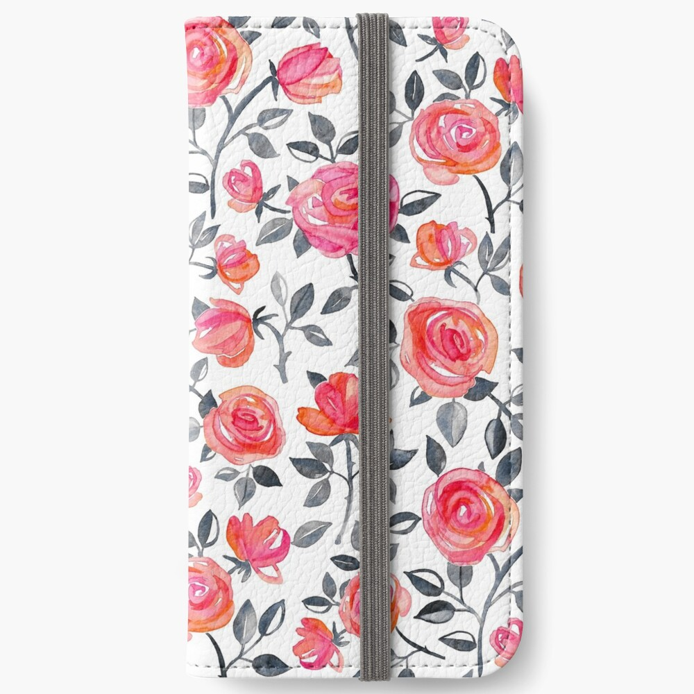 Roses on White - a watercolor floral pattern iPhone Wallet