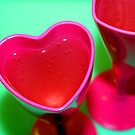 pink heart champagne glasses by weglet