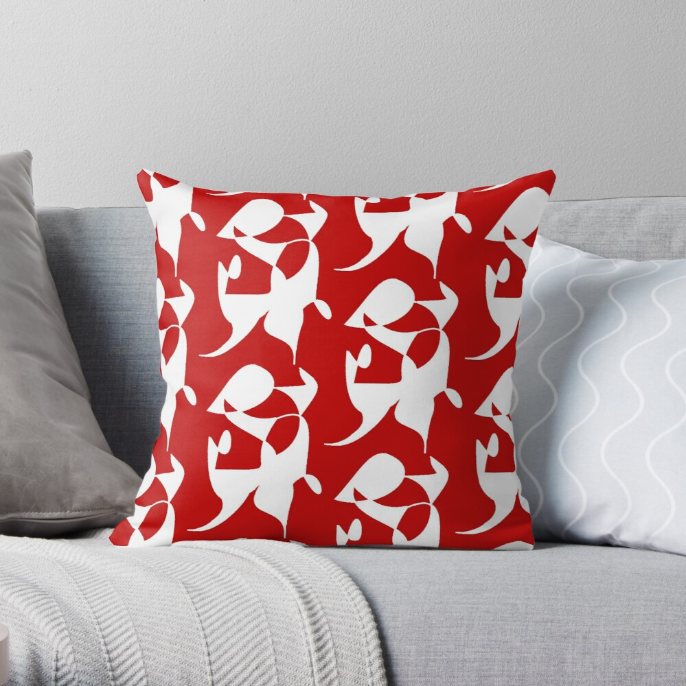 A Bull, Abstract (Designed by Just Stories) Throw Pillow
