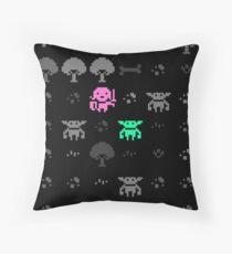 Girl and goblin Throw Pillow
