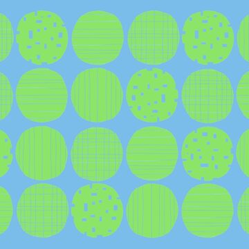 Lime polka dots with sky blue by GreenNote