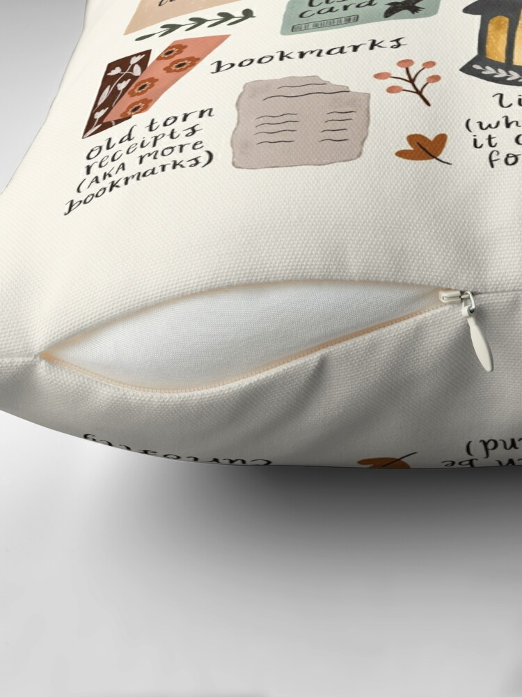 Alternate view of A Bookworm's Belongings Throw Pillow