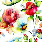 Colorful Watercolors Floral Pattern by artonwear