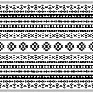 Aztec Black on White Mixed Motifs Pattern by NataliePaskell