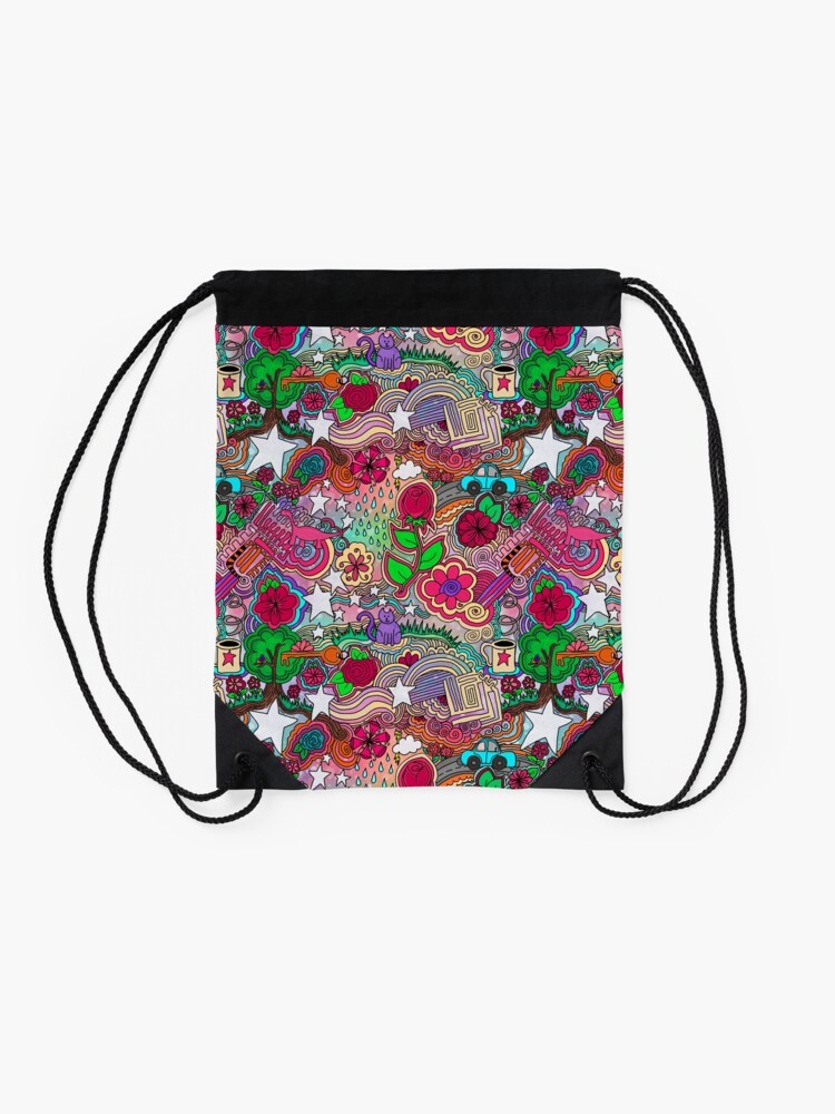 Alternate view of Project 860 Kitschy Colorful Art Drawstring Bag