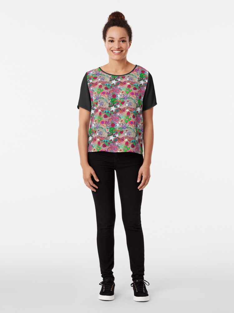 Alternate view of Project 860 Kitschy Colorful Art Chiffon Top