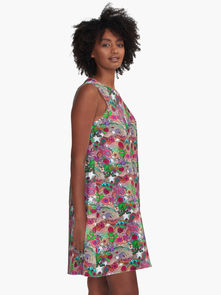 Alternate view of Project 860 Kitschy Colorful Art A-Line Dress