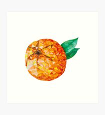 Low Poly Watercolor Orange Art Print