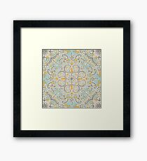 Gypsy Floral in Soft Neutrals, Grey & Yellow on Sage Framed Print