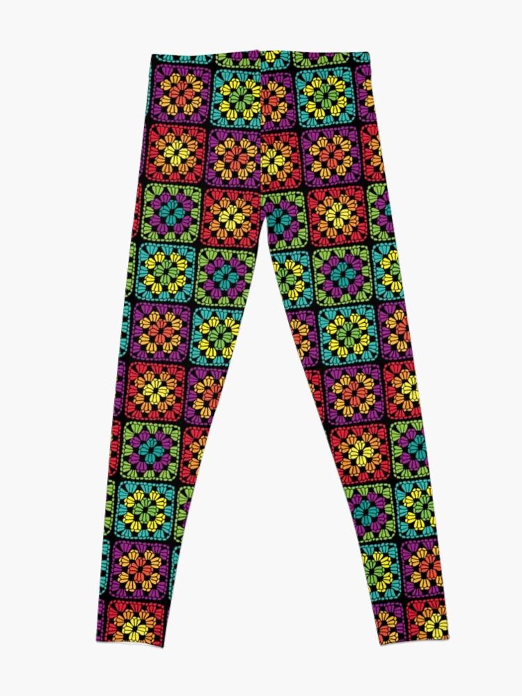 Alternate view of Crochet Granny Square Yarn Pattern Leggings