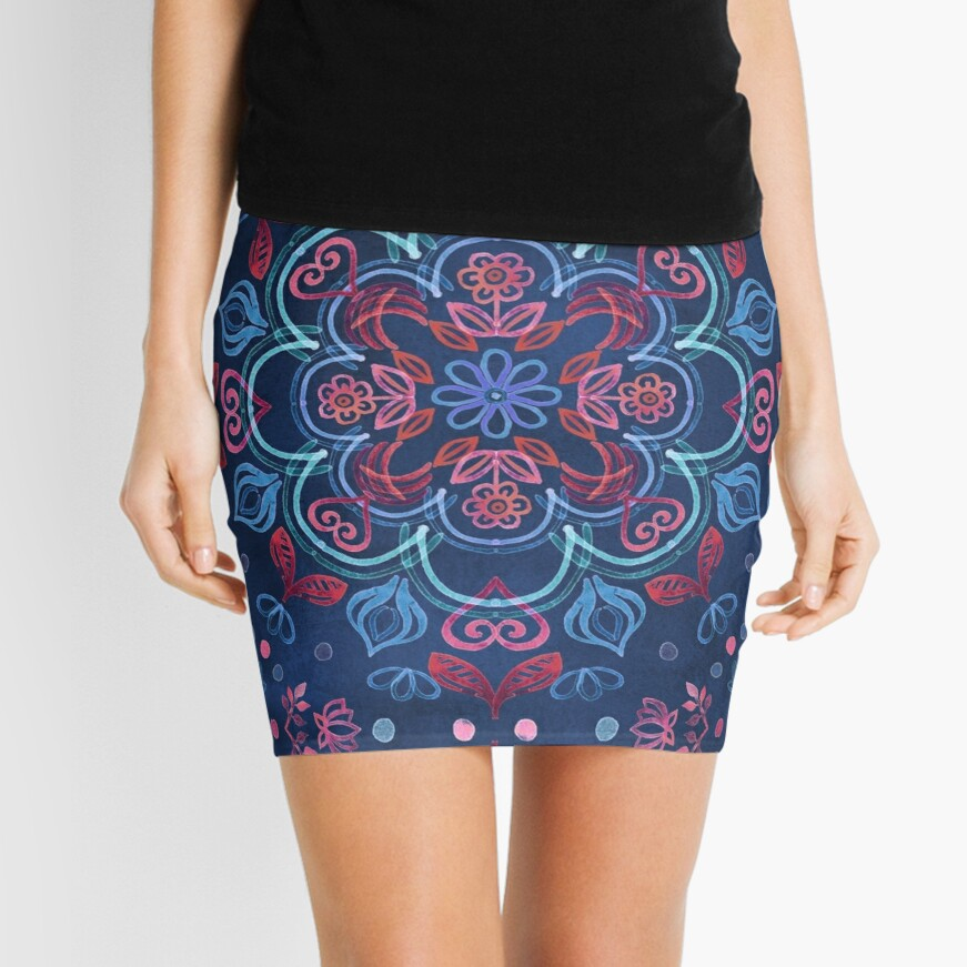 Cherry Red & Navy Blue Watercolor Floral Pattern Mini Skirt