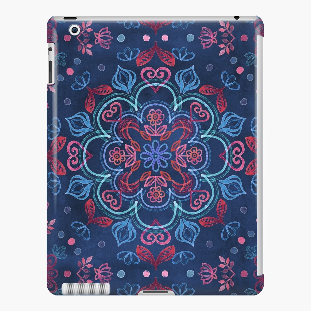 Cherry Red & Navy Blue Watercolor Floral Pattern iPad Case & Skin