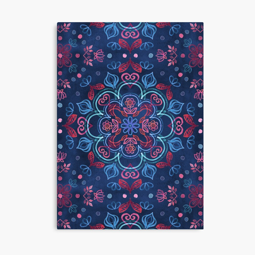 Cherry Red & Navy Blue Watercolor Floral Pattern Canvas Print