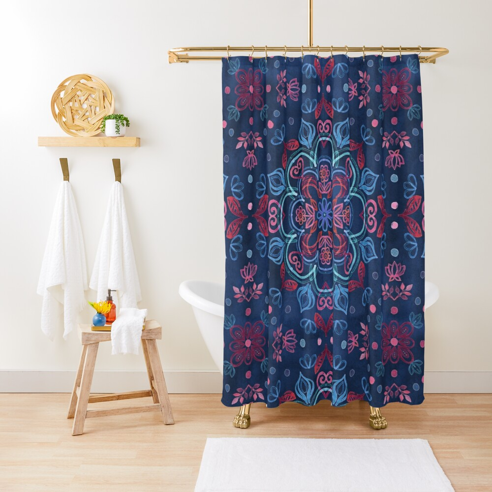 Cherry Red & Navy Blue Watercolor Floral Pattern Shower Curtain