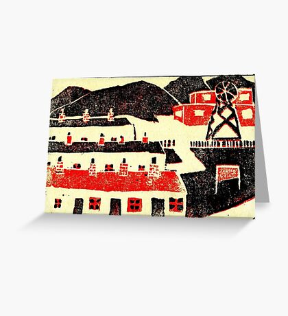 01 - COLLIERY SCENE - DAVE EDWARDS - LINO PRINT - 1965 Greeting Card