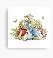 Peter Rabbit With His Family - Beatrix Potter Metal Print