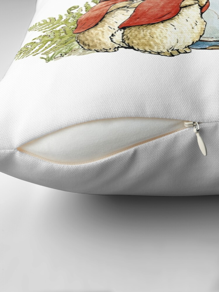 Alternate view of Peter Rabbit With His Family - Beatrix Potter Throw Pillow