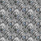 Gears and Time in Silver and White by RetroArtFactory