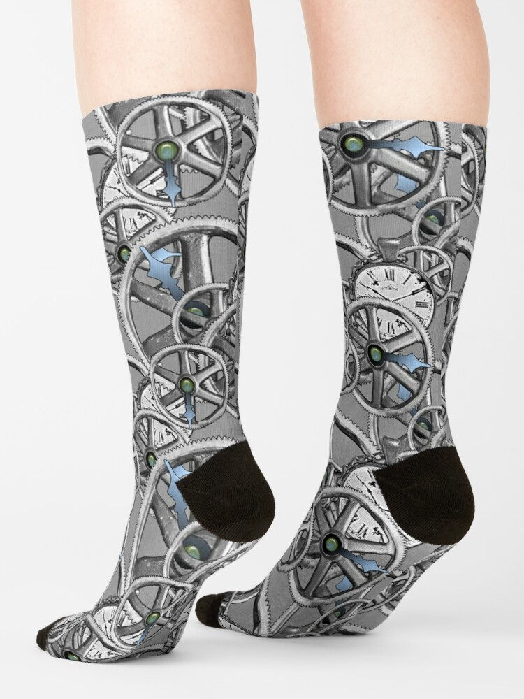 Alternate view of Gears and Time in Silver and White Socks