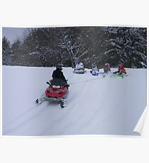 Snowmobile sledding Poster