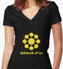 Glitch.Fm Logo - Yellow Women's Fitted V-Neck T-Shirt